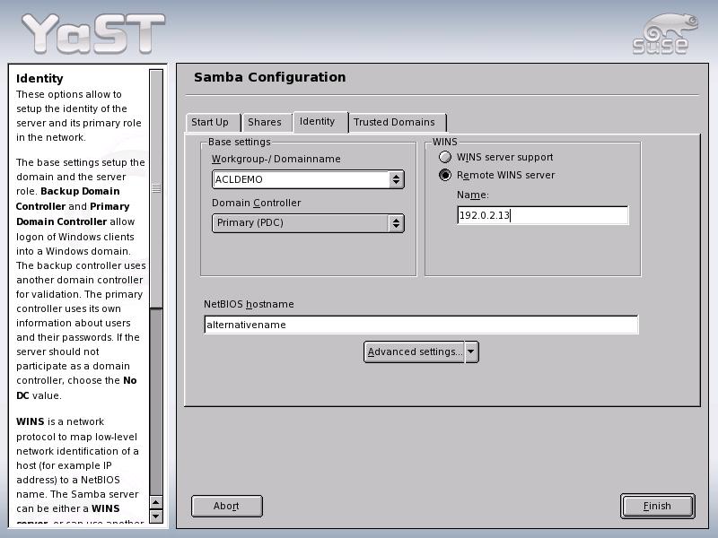 Novell Documentation: Novell Linux Small Business Suite 9 - Samba