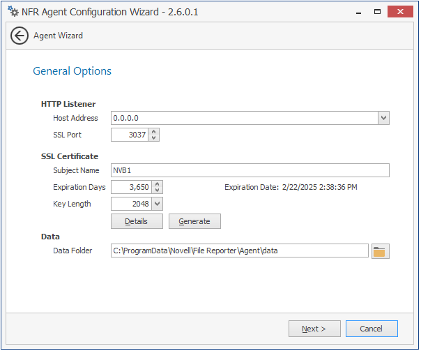 Installing and Configuring the NFR Agent - Novell File Reporter 2 6
