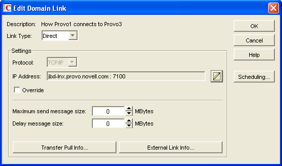 Post Office Box Sizes. Edit Domain Link dialog ox