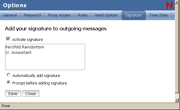 Options view with Signature selected