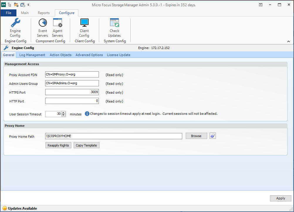 Configure Tab - Micro Focus Storage Manager 5 0 for