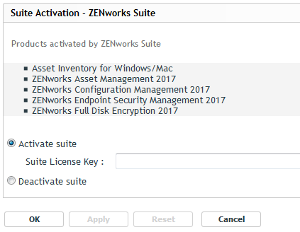 Activating ZENworks Suite or Individual Product License - ZENworks