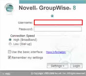 Enlace de credenciales: Web Mail de GroupWise