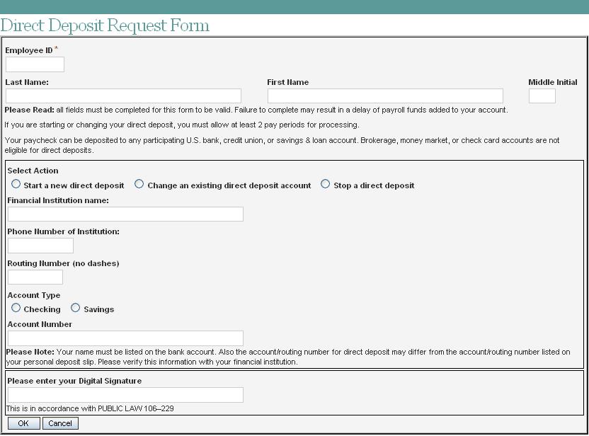 direct deposit request