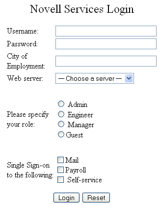 Novell Doc: Novell Access Manager 3.0 SP4 Administration Guide - Understanding an HTML Form