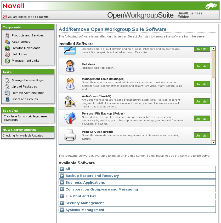 Novell Doc: Novell Open Workgroup Suite Small Business Edition 9 3