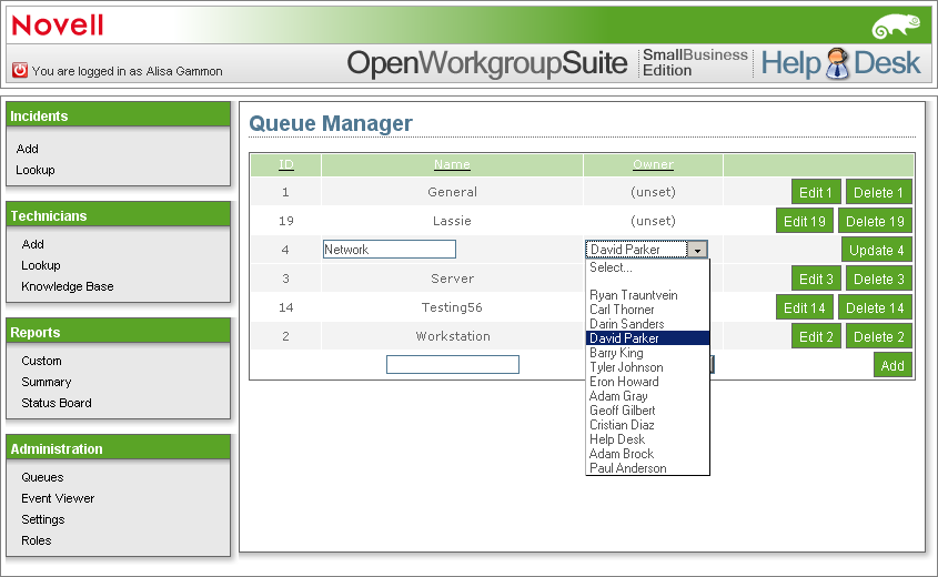 Under The Owner Column Scroll Down Until You Find Name Of Desired Technician Select Then Click Update