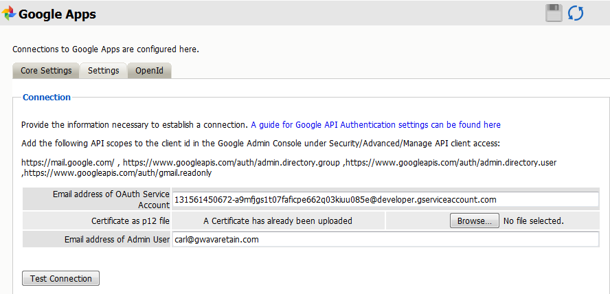 Google Apps Module Setup - Retain Version 4 2