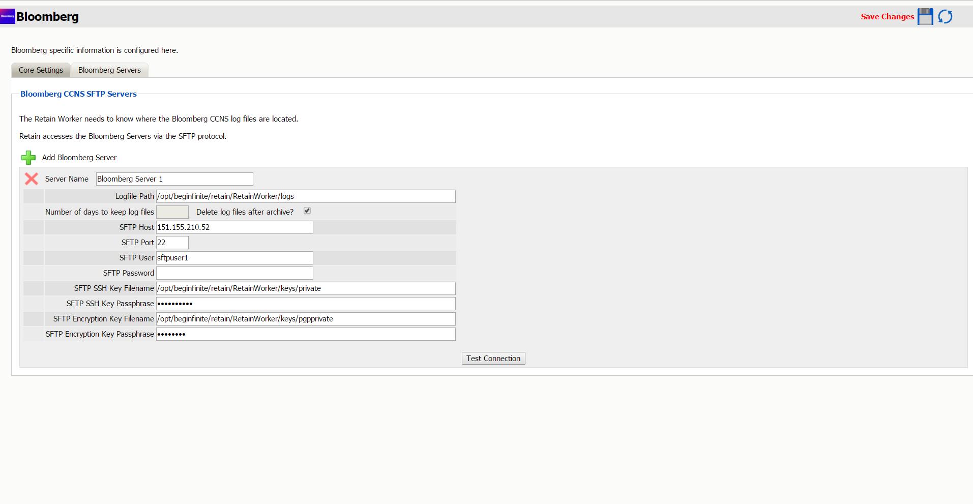 Module Configuration - Retain Version 4 2