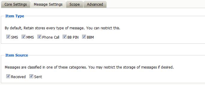 BlackBerry Module - Retain Unified Archiving
