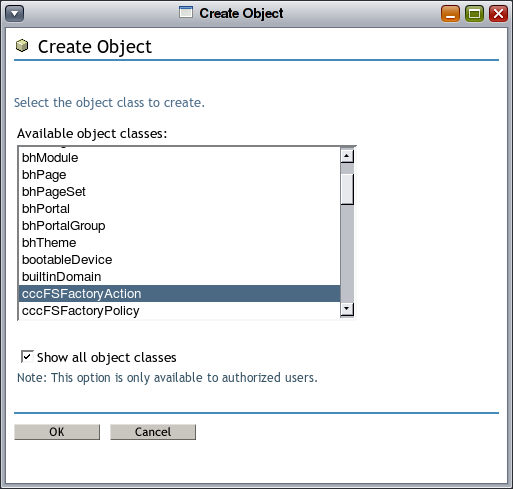 Missing 'Show all object classes' button under Create Object - Micro