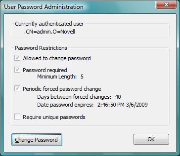 how to change windows network password